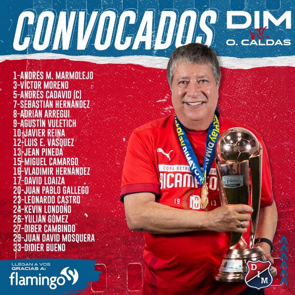 Convocados Independiente Medellin para partido ante Once Caldas