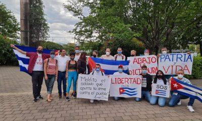 Cubanos en Medellín salieron a las calles en muestra de apoyo a las protestas en su país