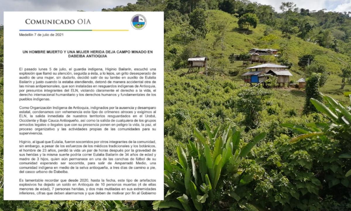 ¡Qué triste! Joven indígena perdió la vida al pisar una mina en Dabeiba