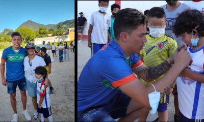 Mateus Uribe visitó a los niños y jóvenes de Venecia, Antioquia