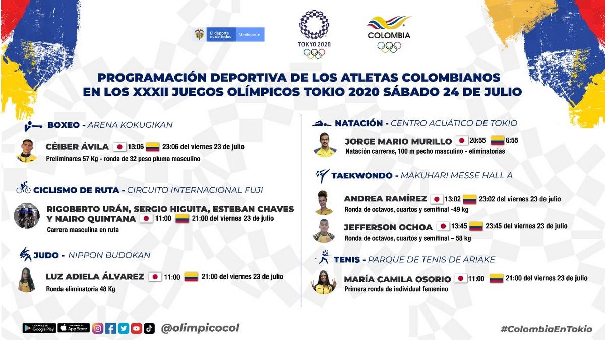 Programacion Juegos Olimpicos sabado 24 de julio