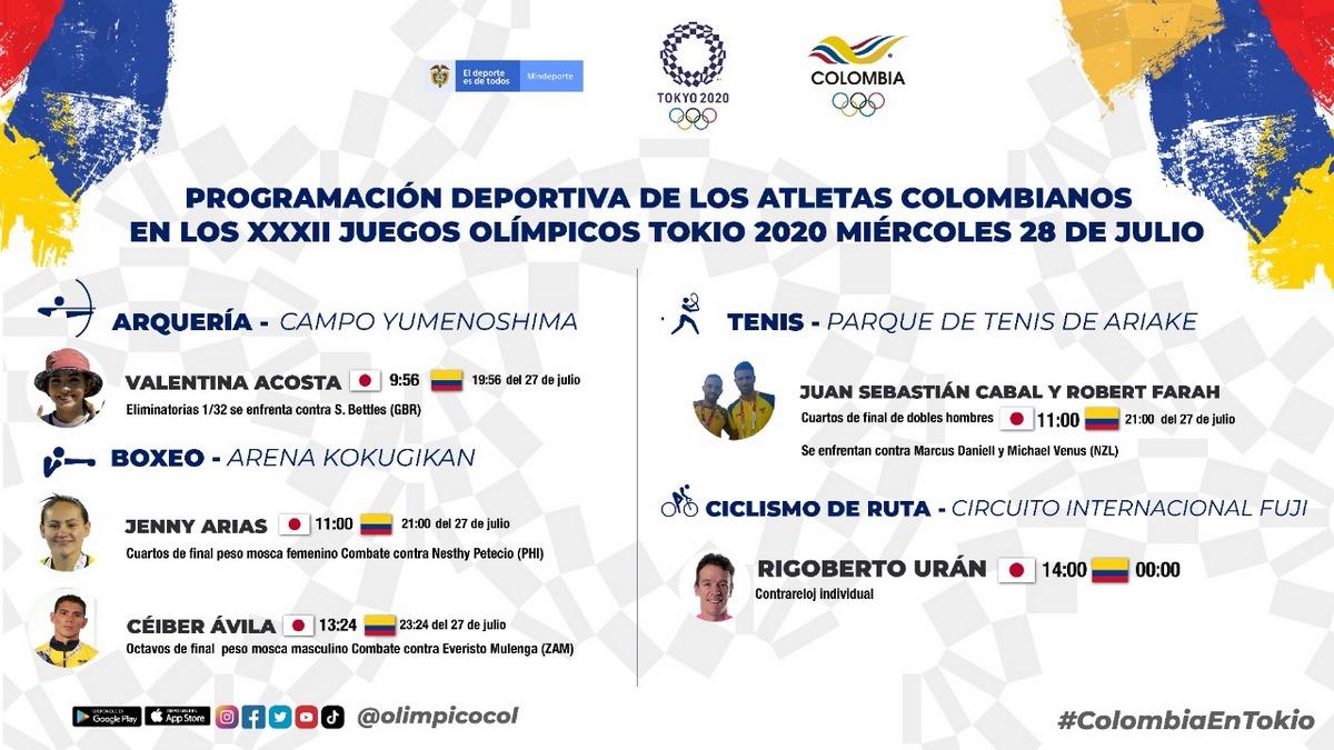 Programacion de los deportistas colombianos en la sexta jornada de Juegos Olimpicos
