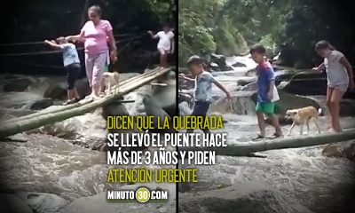 El peligroso puente improvisado de familias en San Jerónimo