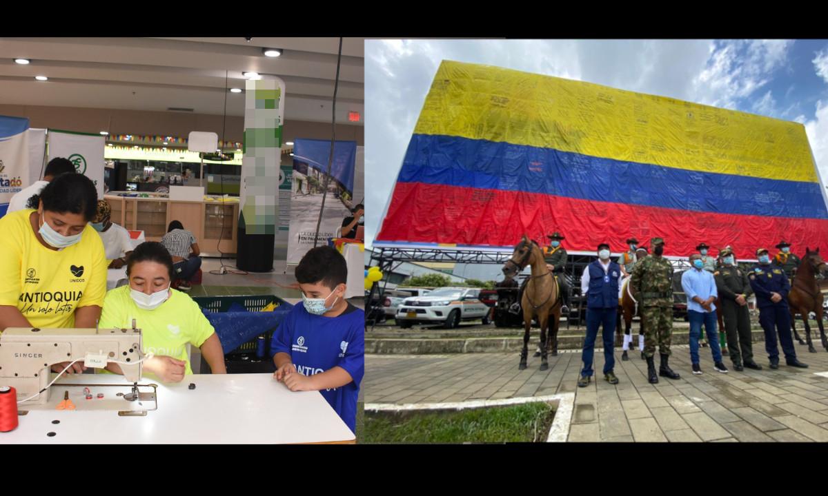 Una familia en Urabá cosió esta bandera gigante en honor a los deportistas que nos representaran en los Juegos Olímpicos