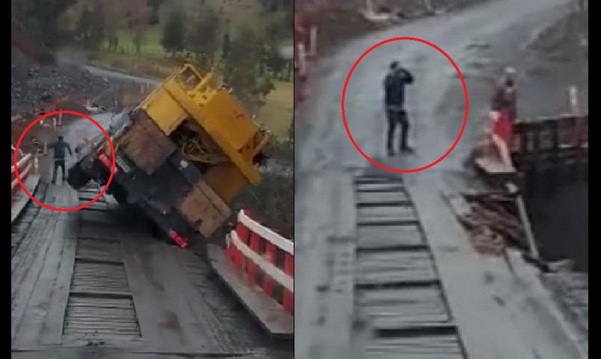 Se tiró del camión cuando estaba a punto de caer a un río
