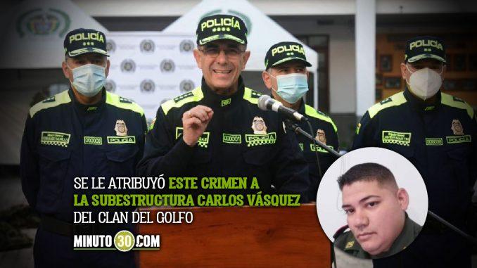 Recompensa por autores de crimen de policía en Apartadó