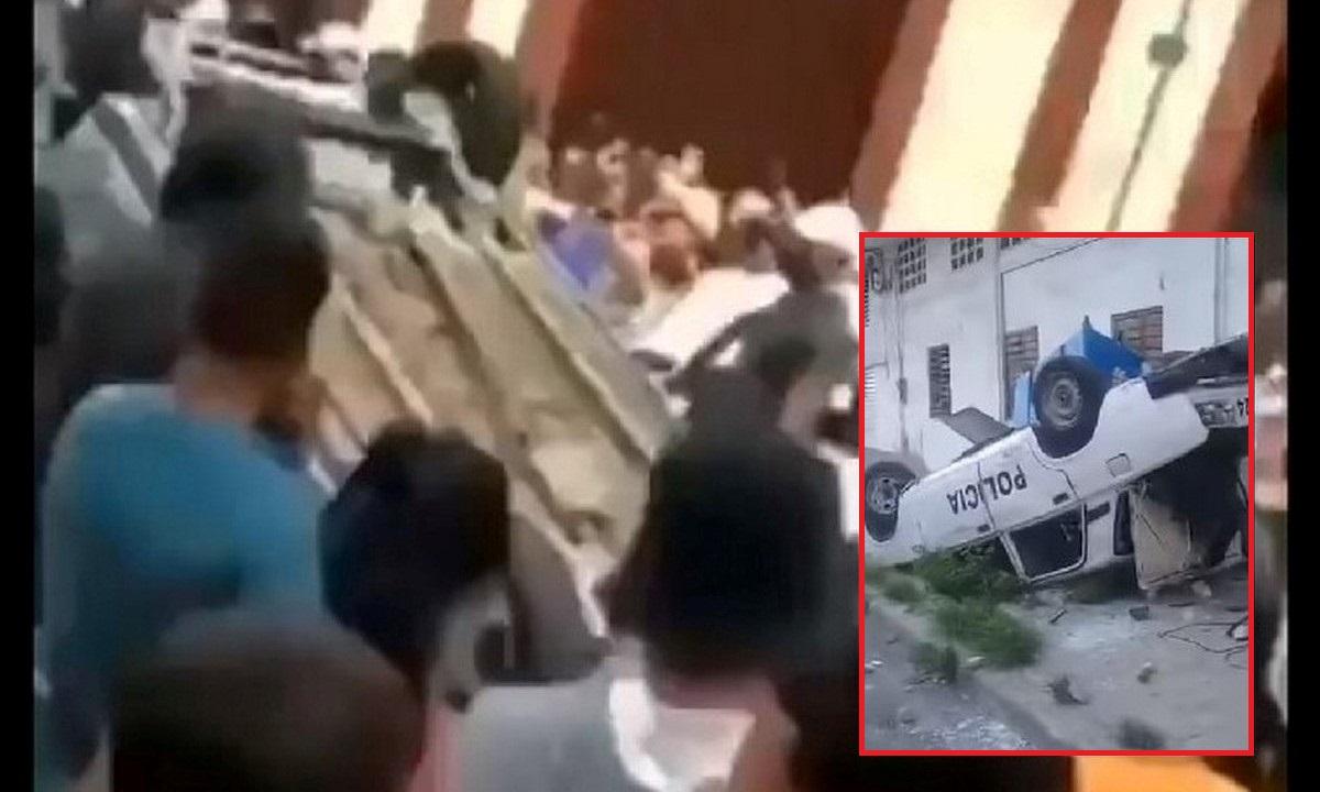 Manifestantes en Cuba volcaron carro del Partido Comunista