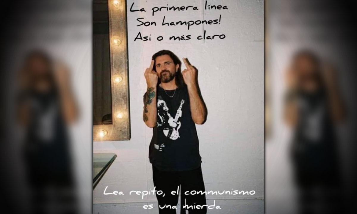 """""""La Primera Línea son hampones"""", mensaje que le atribuyen a Juanes y que el desmiente"""