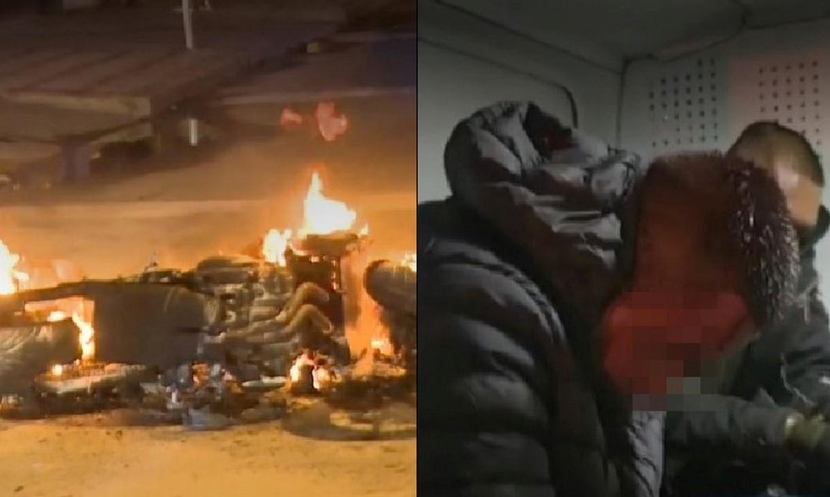 A ladrones en Bogotá los golpearon y les quemaron la moto