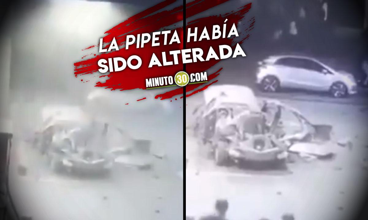Momento exacto de la explosión del carro en Cali