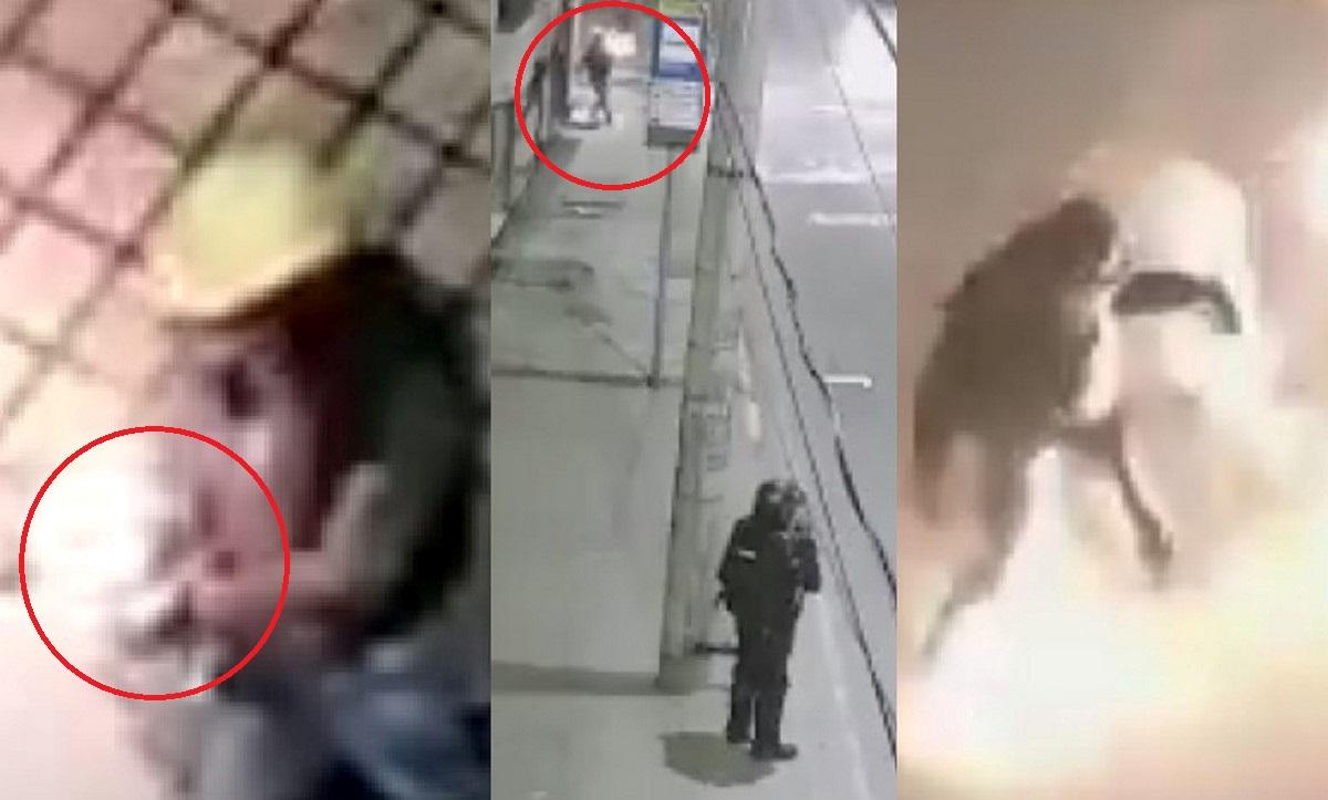 Le lanzaron una bomba incendiaria a un policía en Bogotá