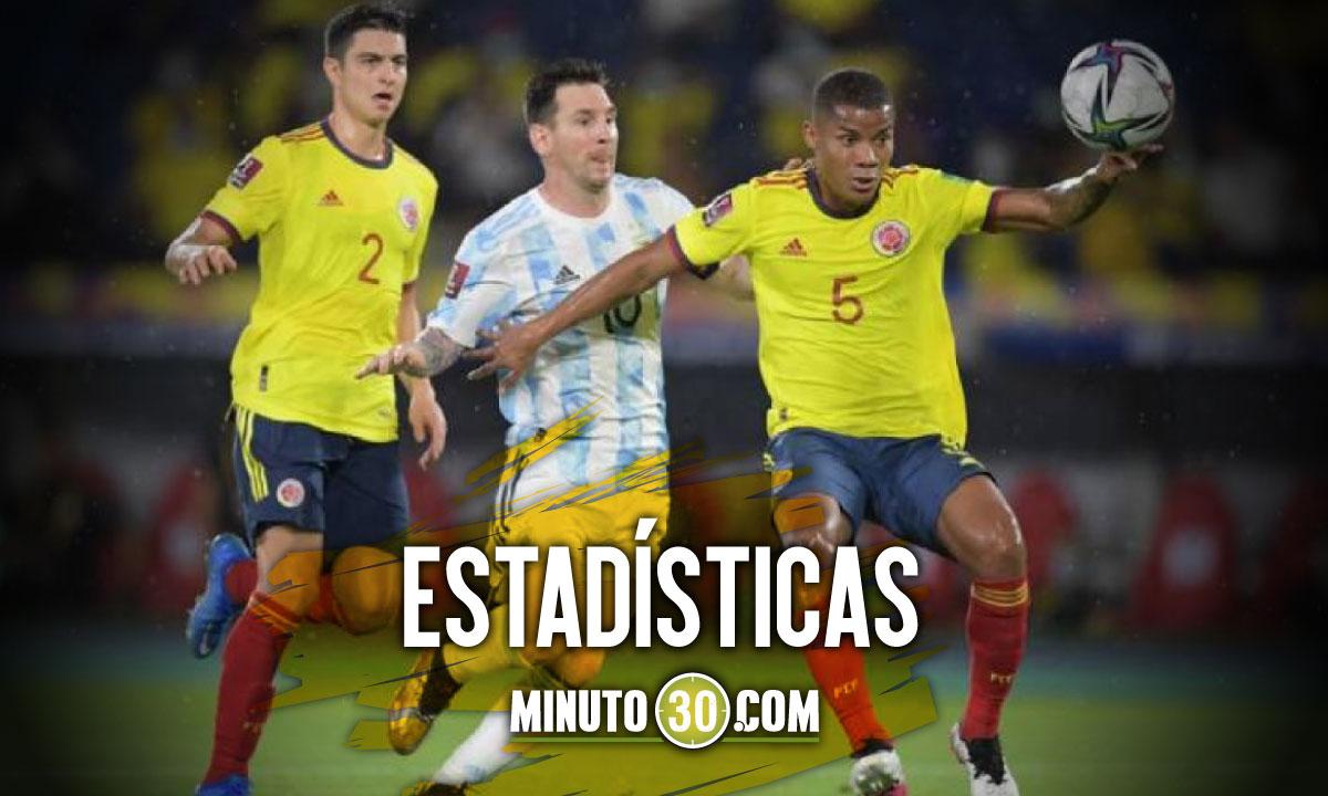 previa en datos del partido Colombia Argentina