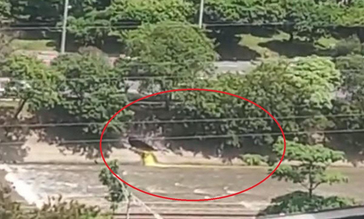 Denuncian que un líquido amarillo cae al río Medellín