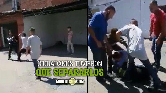[Video] ¡Se cascaron! A los puños se fueron un Agente de Tránsito y un Conductor en Copacabana