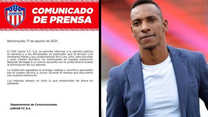 ¡No va más! Junior confirmó que Luis Amaranto Perea no seguirá como técnico
