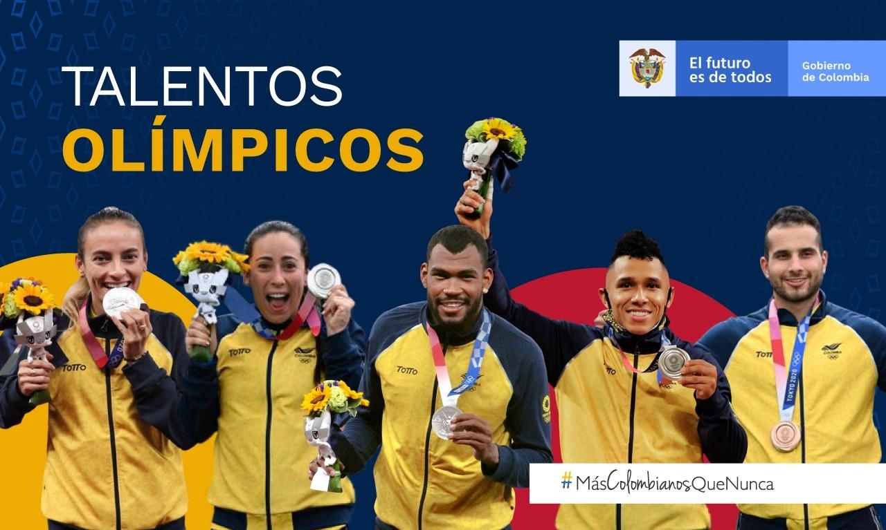 Deportistas colombianos con el presidente 1