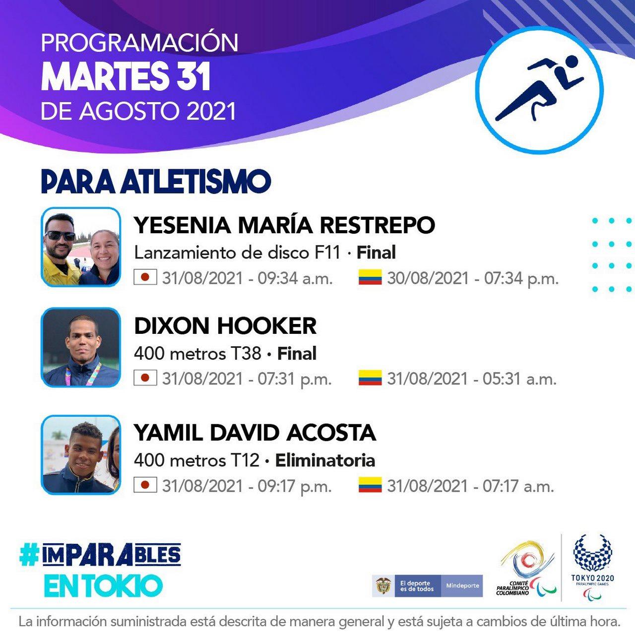 Deportistas colombianos listos para la septima jornada en Juegos Paralimpicos 1