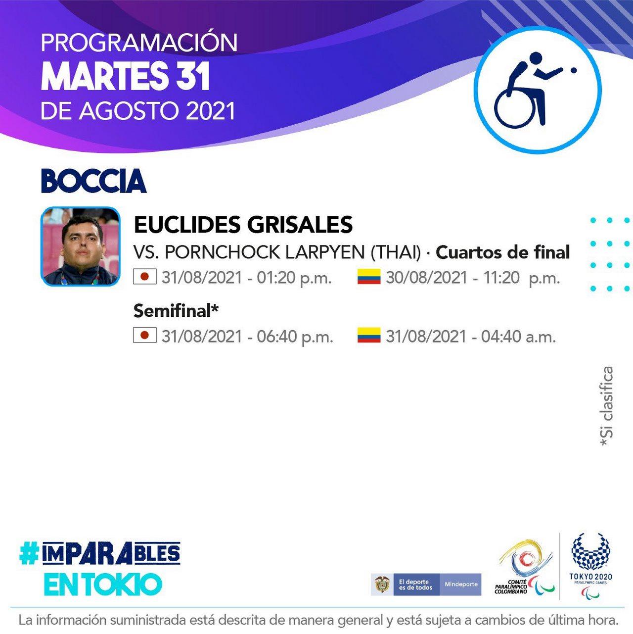 Deportistas colombianos listos para la septima jornada en Juegos Paralimpicos 2