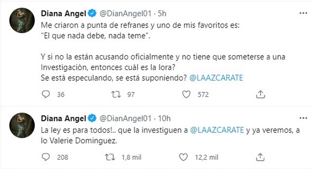 Diana Angel pide investigar a Alejandra Azcarat