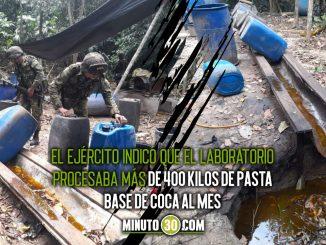 Ejército destruyó en Turbo, Antioquia, un laboratorio para procesar coca