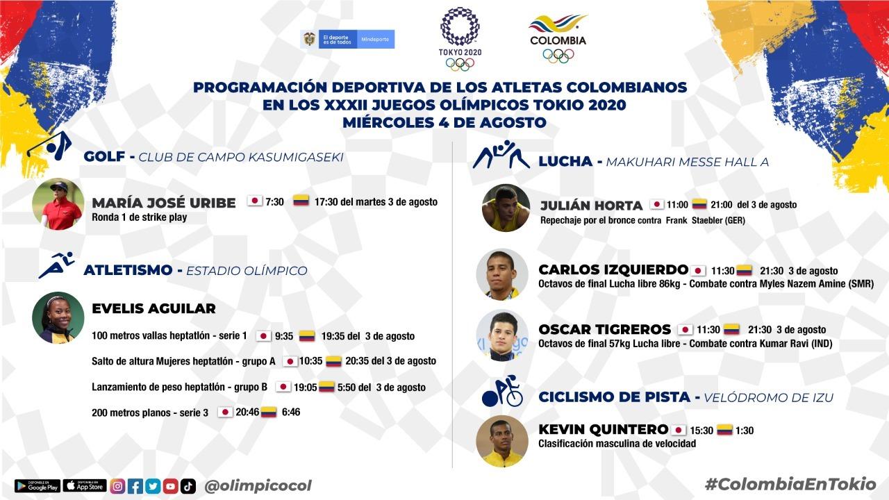 Golf atletismo lucha y ciclismo en la agenda de los deportistas colombianos en Tokio