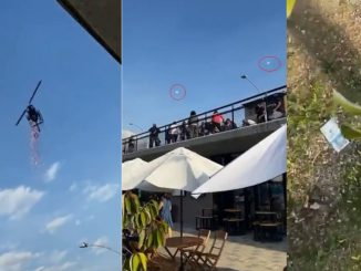 En Guatapé tiraron pétalos de rosa desde un helicóptero y regalaron billetes