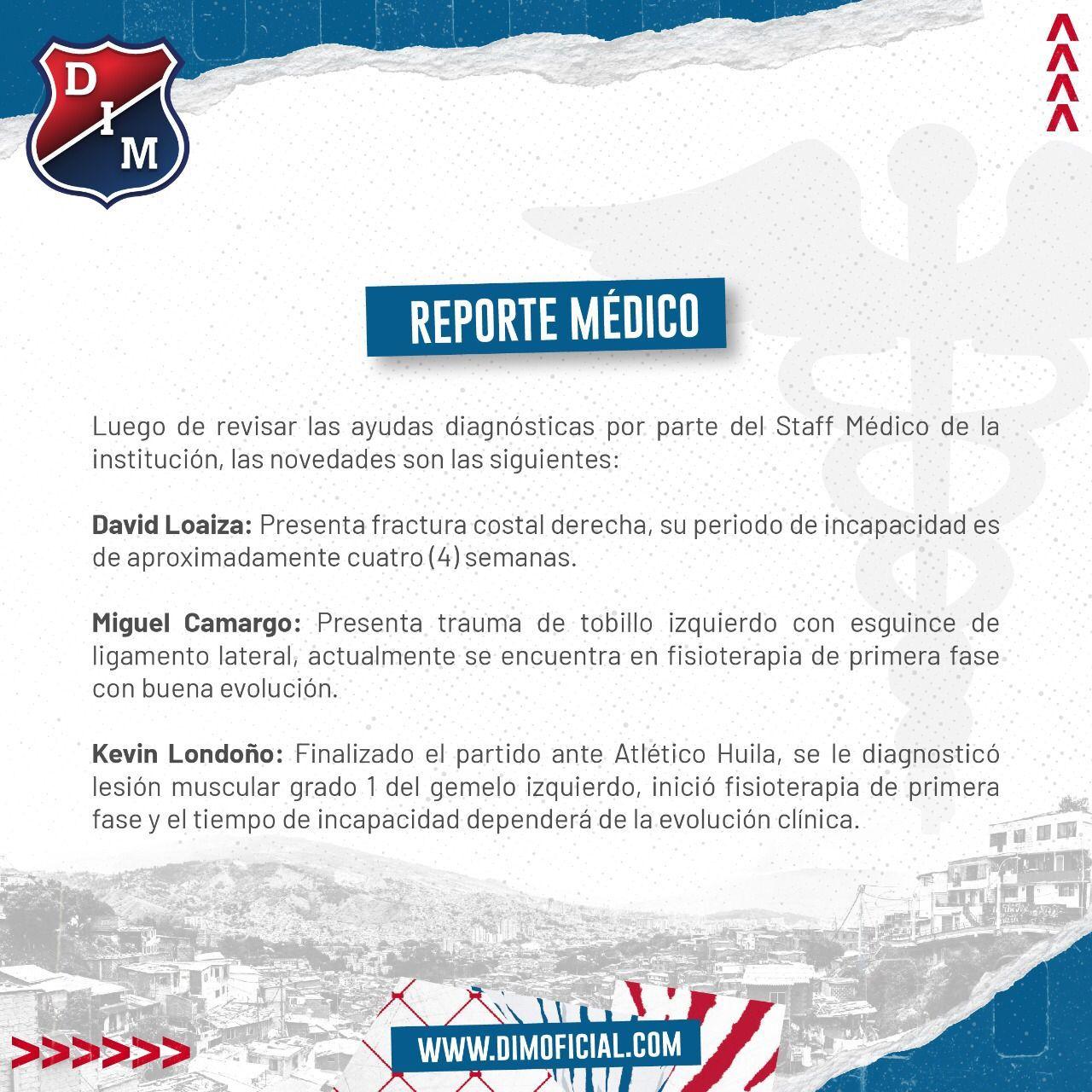 Independiente Medellin dio a conocer reporte medico