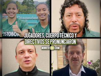 Integrantes de Atletico Nacional hacen un llamado al futbol en paz