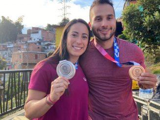 Mariana Pajón y Carlos Ramírez disfrutaron de un bonito recibimiento en Medellín