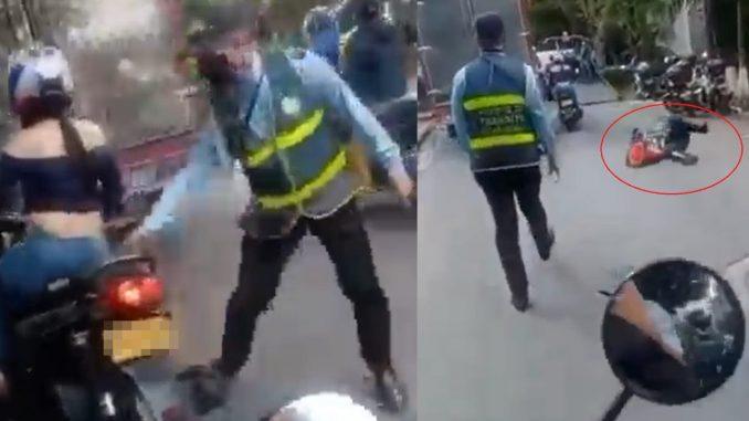 [Video] Mujer se llevó por delante a agentes de tránsito, uno de ellos terminó arrastrado