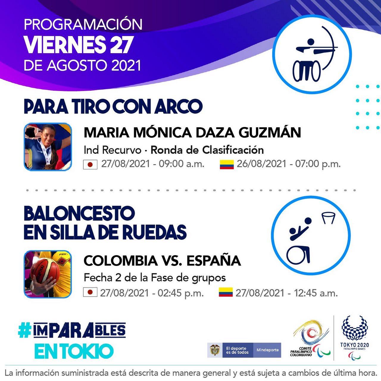 Programacion de los deportistas colombianos para tercera jornada Juegos Paralimpicos 2