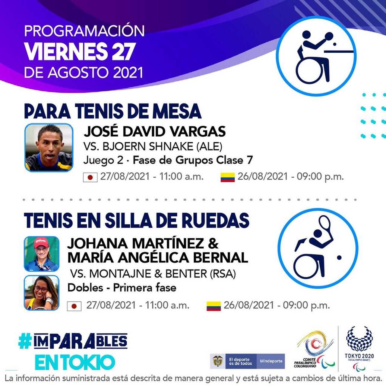 Programacion de los deportistas colombianos para tercera jornada Juegos Paralimpicos 9
