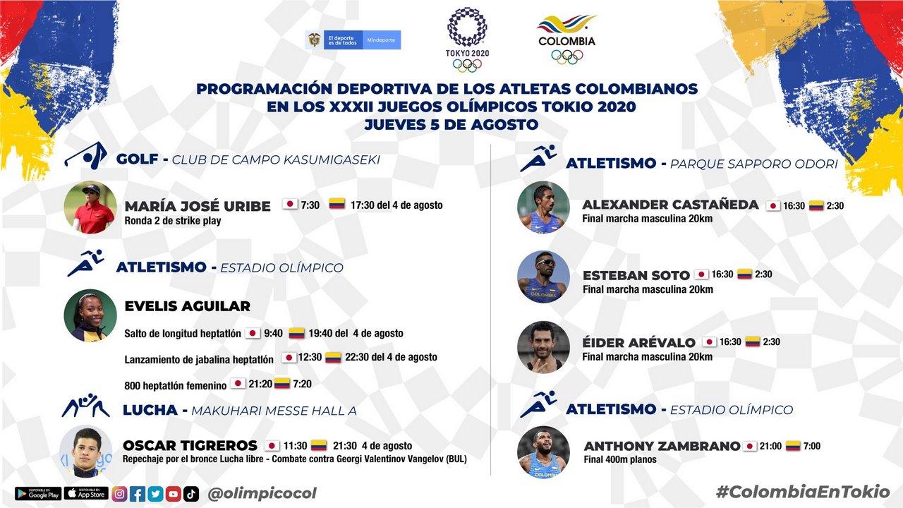 Programacion deportistas colombianos