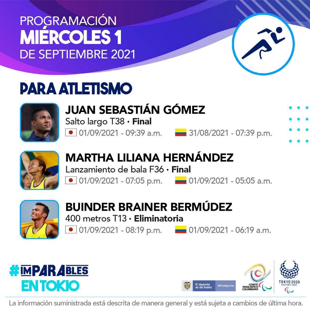 Programacion deportistas colombianos en la octava jornada de los Juegos Paralimpicos 1