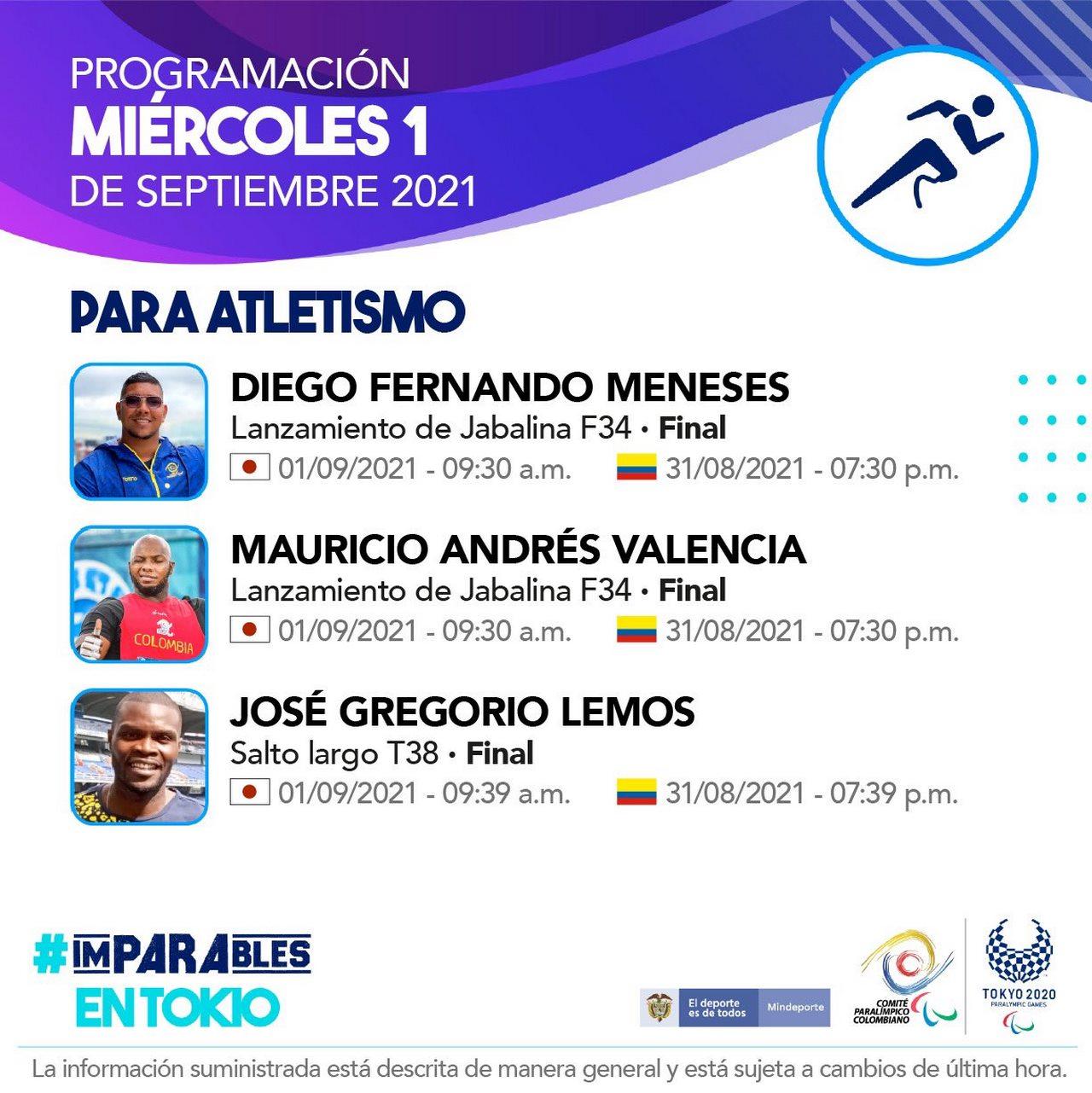 Programacion deportistas colombianos en la octava jornada de los Juegos Paralimpicos 5