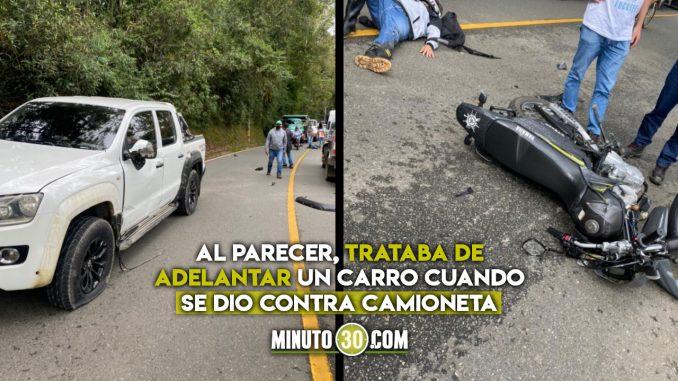 Accidente en la vía La Ceja-La Unión dejó un motociclista lesionado