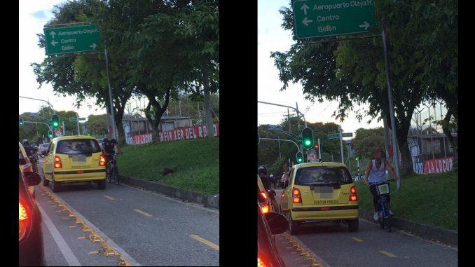 Denuncian a taxista que se subió la ciclovía en Belén