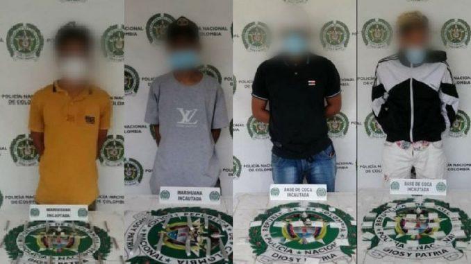 'Agarraron' a estos cuatro en Santo Domingo y El Popular con la 'merca'