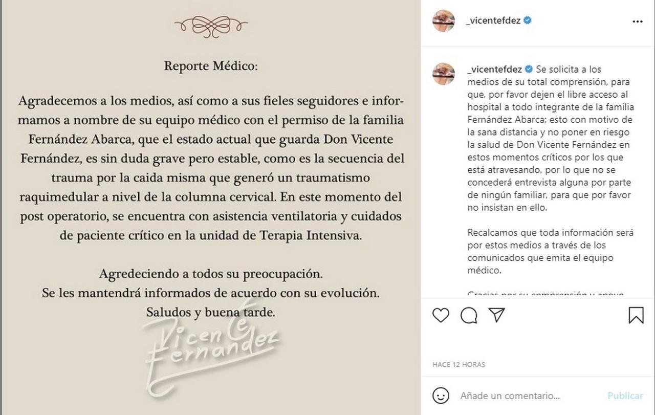 comunicado 1 Vicente Fernandez
