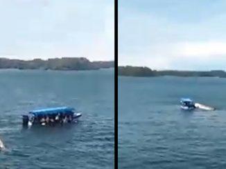 [Video] ¡Qué miedo! Una lancha se volcó en Guatapé