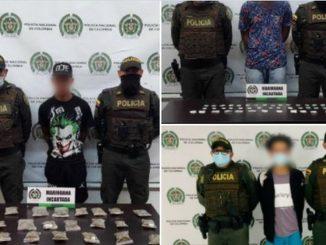 A estos tres los cogieron con pura marihuana en San Antonio de Prado y en Belén