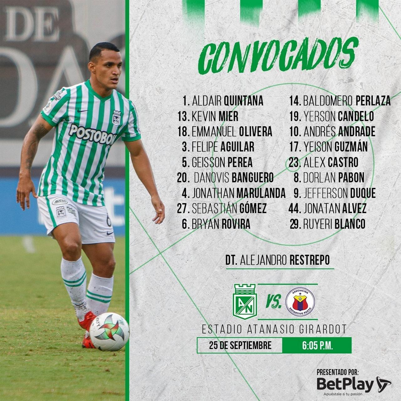 18 jugadores concentro Nacional para enfrentar a Pasto