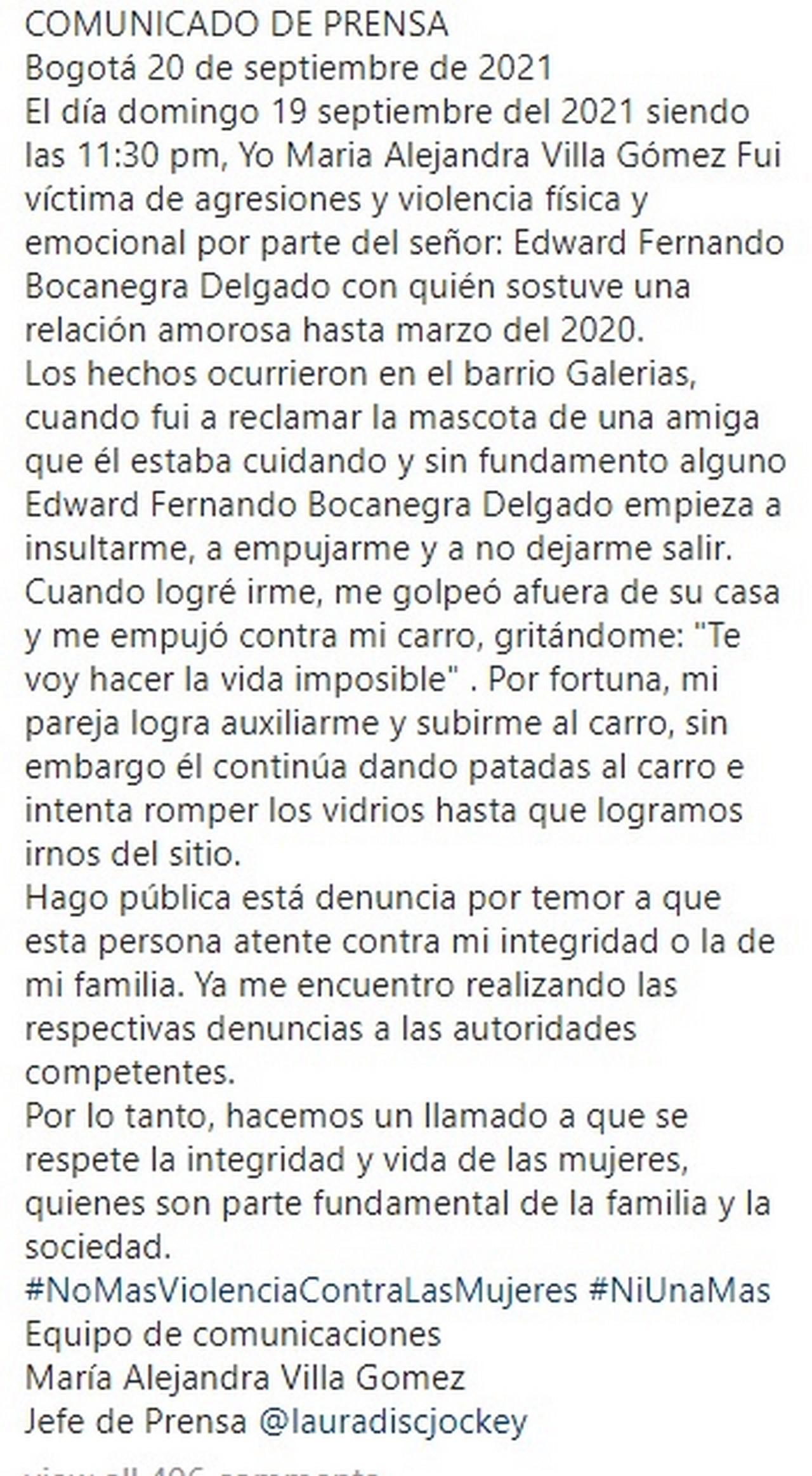 Alejandra Villeta denuncia a hombre