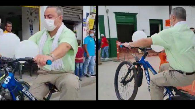 [Video] Picando la 'cicla', así grabaron al Alto Comisionado para la Paz en Amalfi