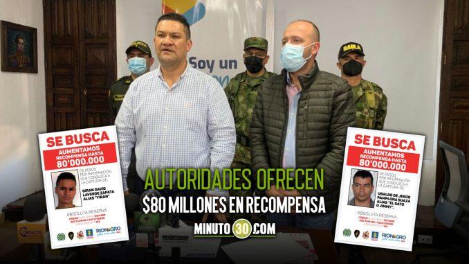 Aumentan recompensa por información sobre los más buscados en Rionegro
