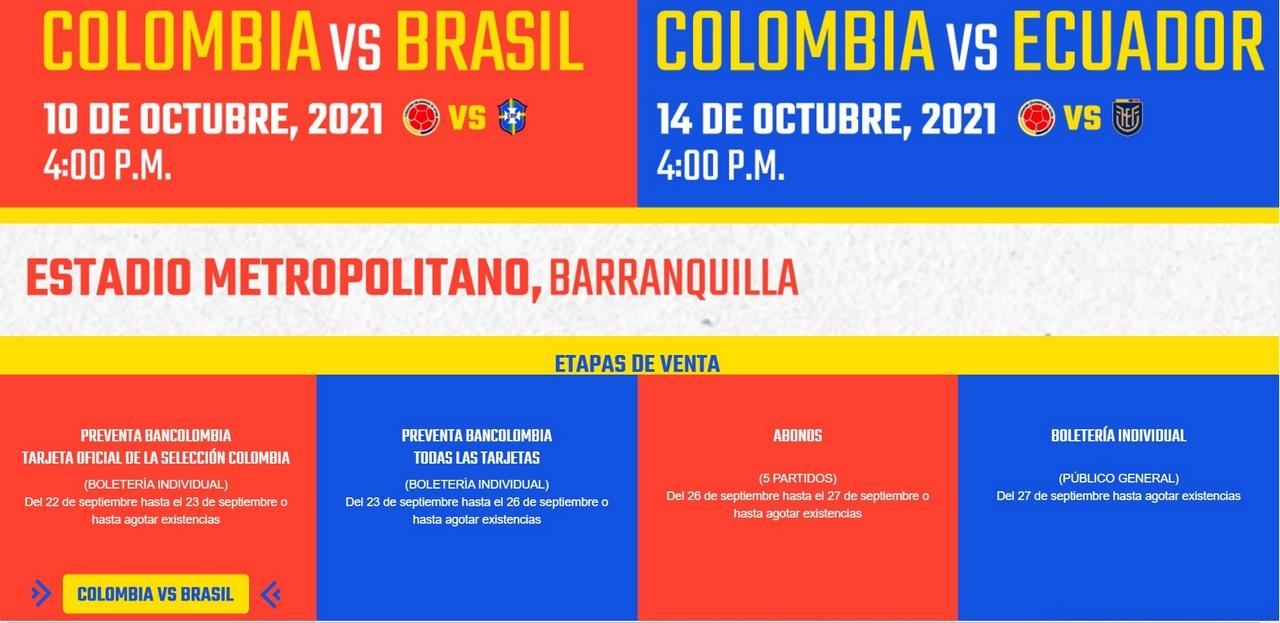 Boleteria Seleccion Colombia 2