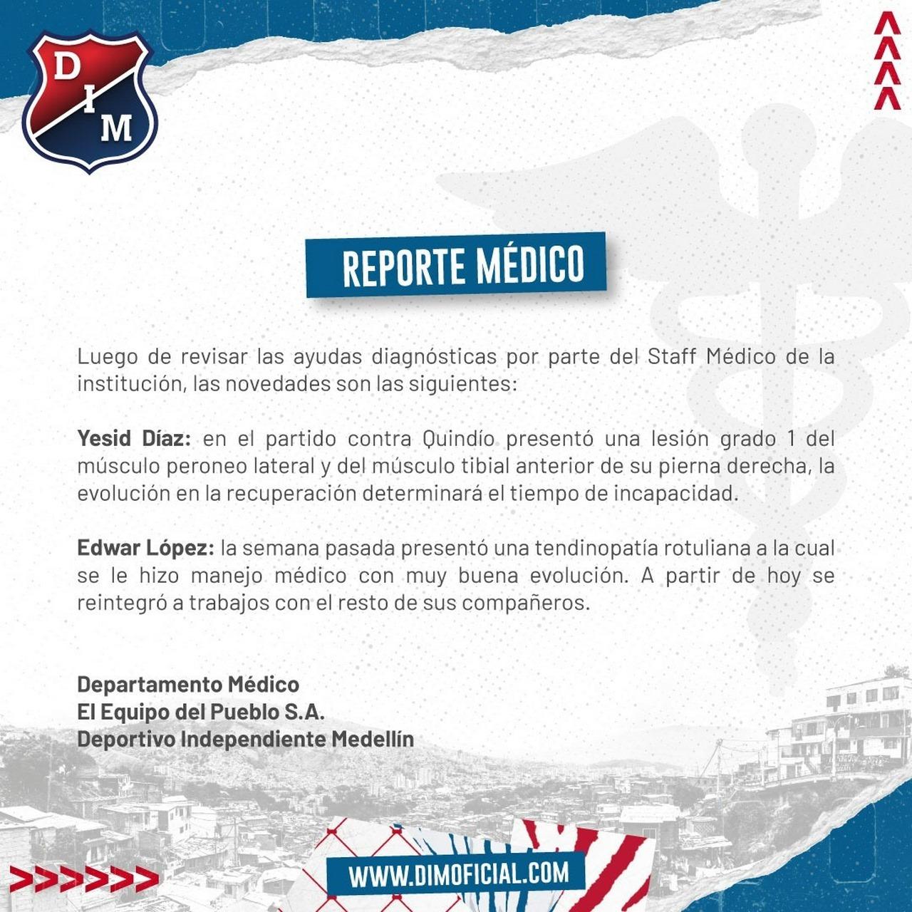 Dos jugadores en departamento medico de Independiente Medellin