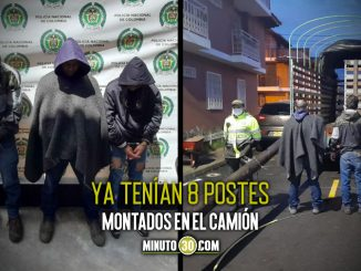 Los pillaron robando los postes de energía en Carmen de Viboral