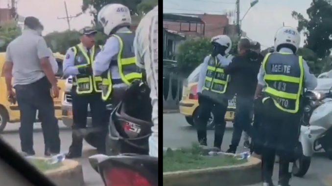 [Video] Pelea entre escolta y agentes de tránsito en Cali