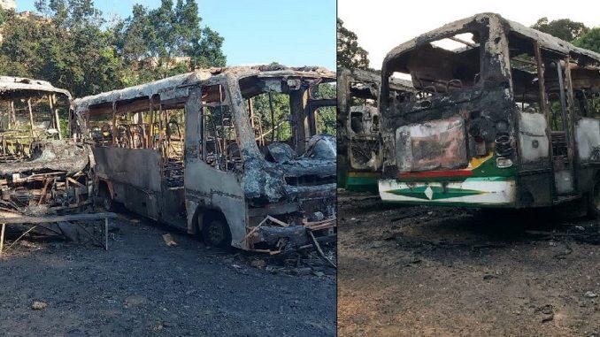 Voraz incendio en parqueadero consumió cinco buses